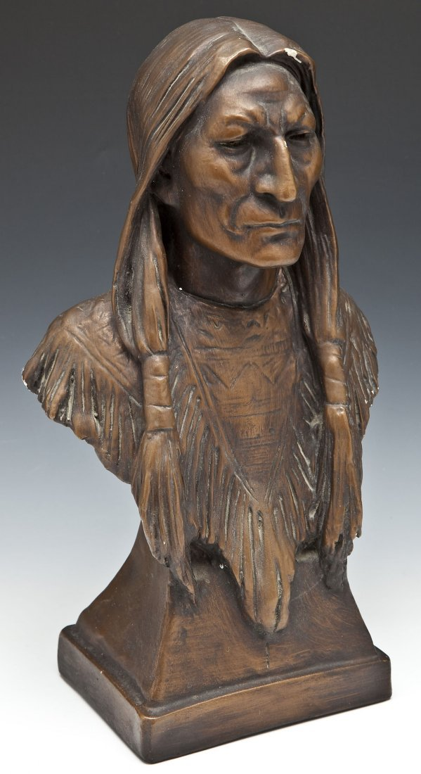 Bronze Patinated Chalkware Indian Bust