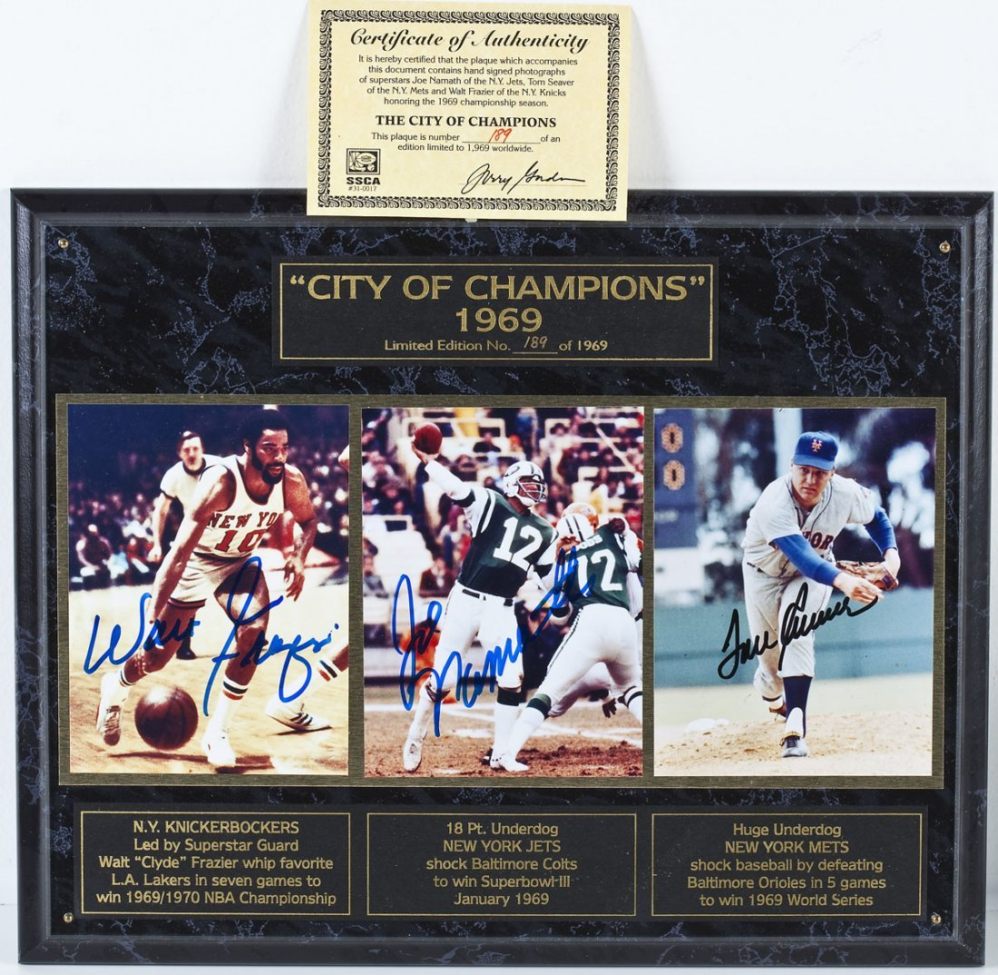 Autographed City of Champions Plaque