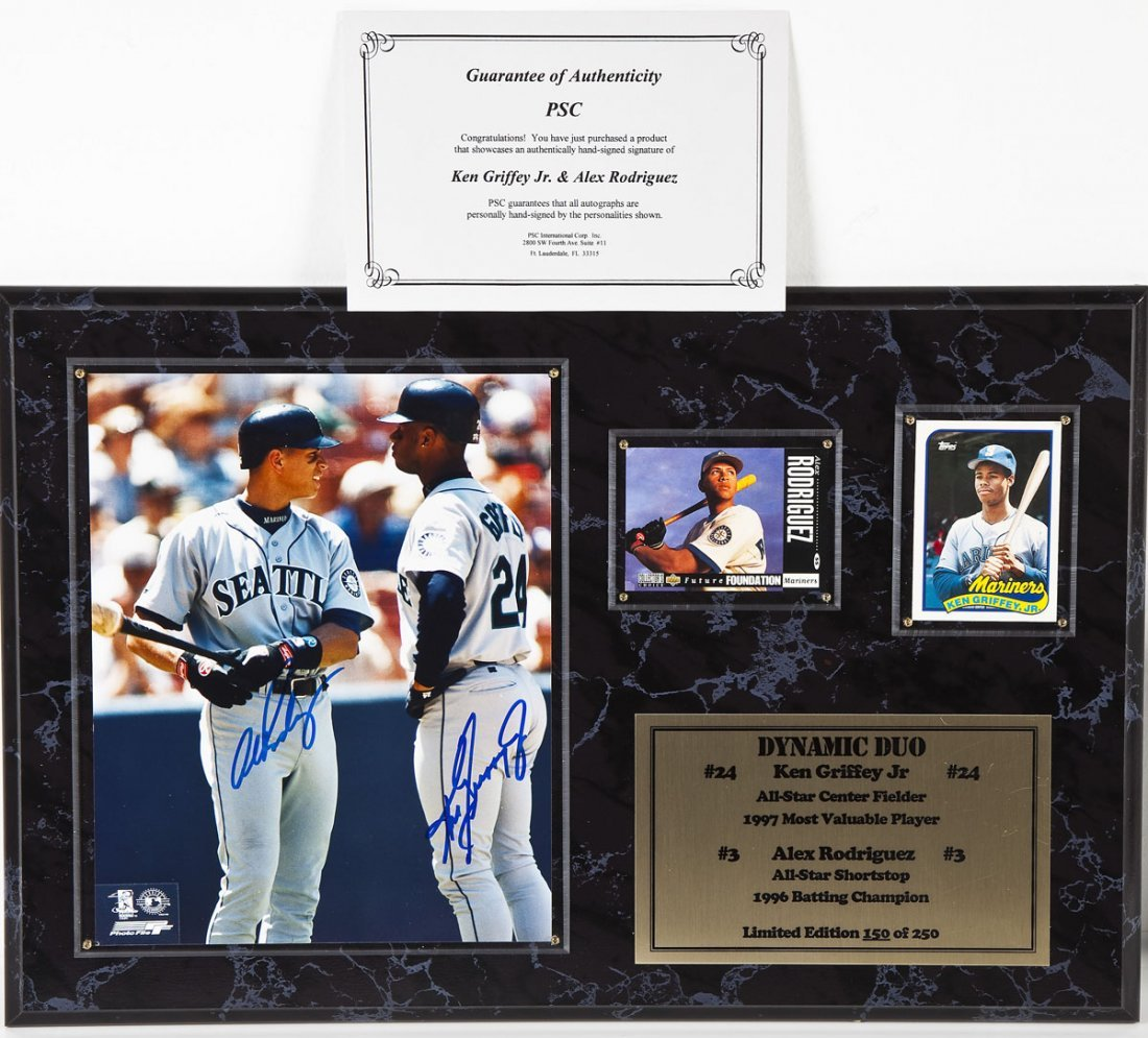 Griffey Jr. and Rodriguez Signed Baseball Plaque