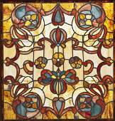 Large Victorian Stained & Jeweled Glass Window
