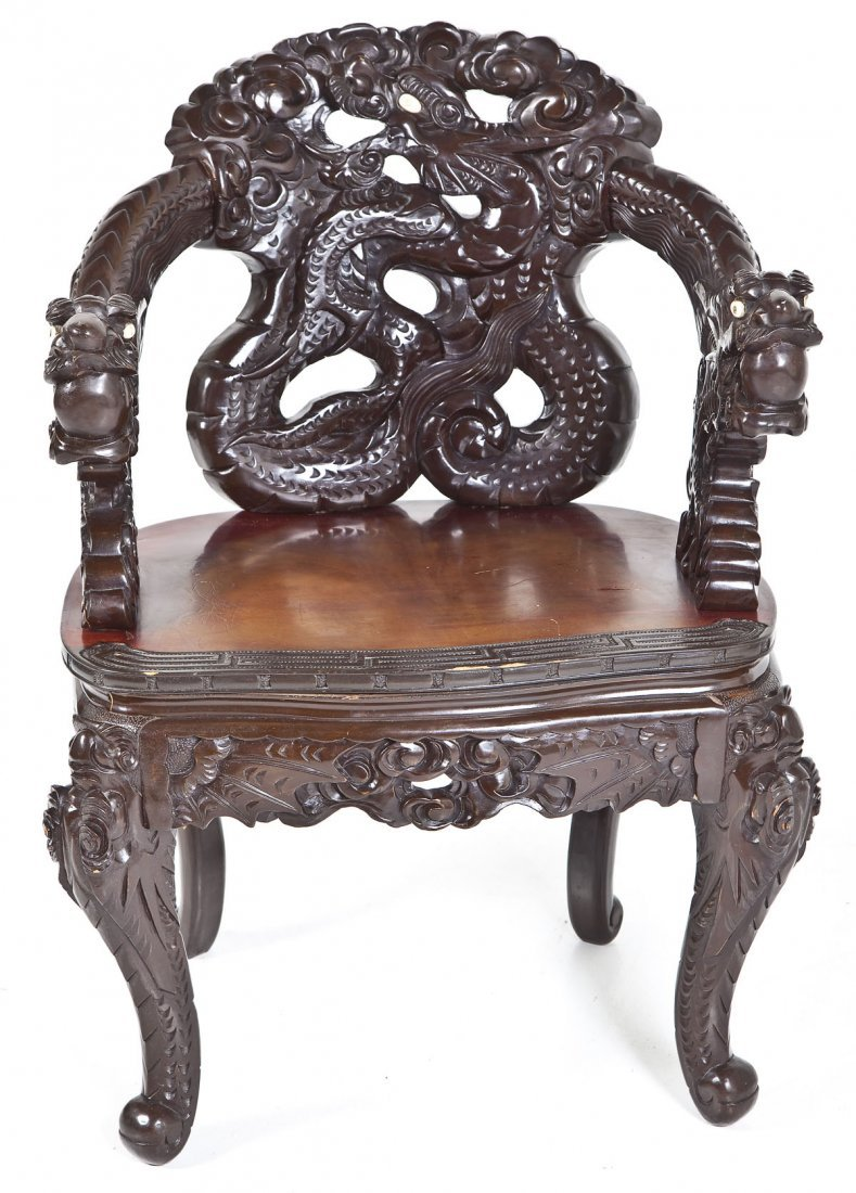 Chinese Carved Dragon Chair