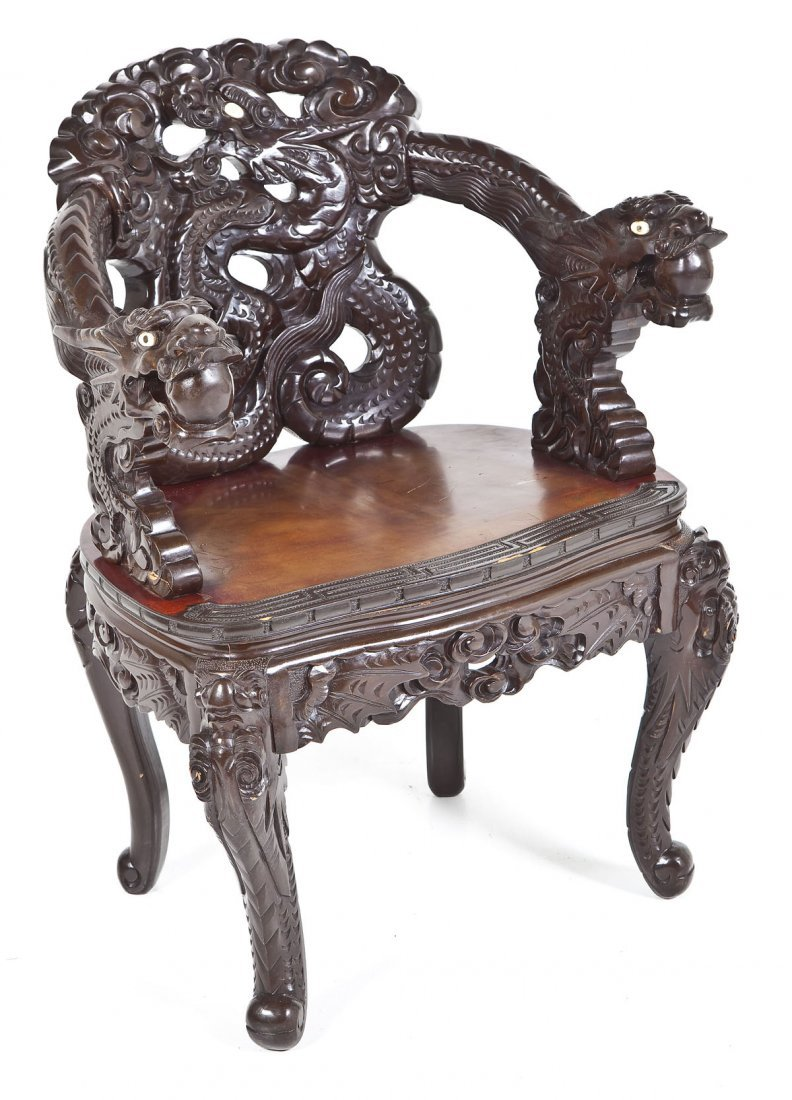 Chinese Carved Dragon Chair - 2