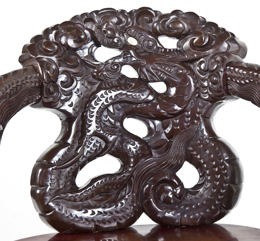 Chinese Carved Dragon Chair - 5