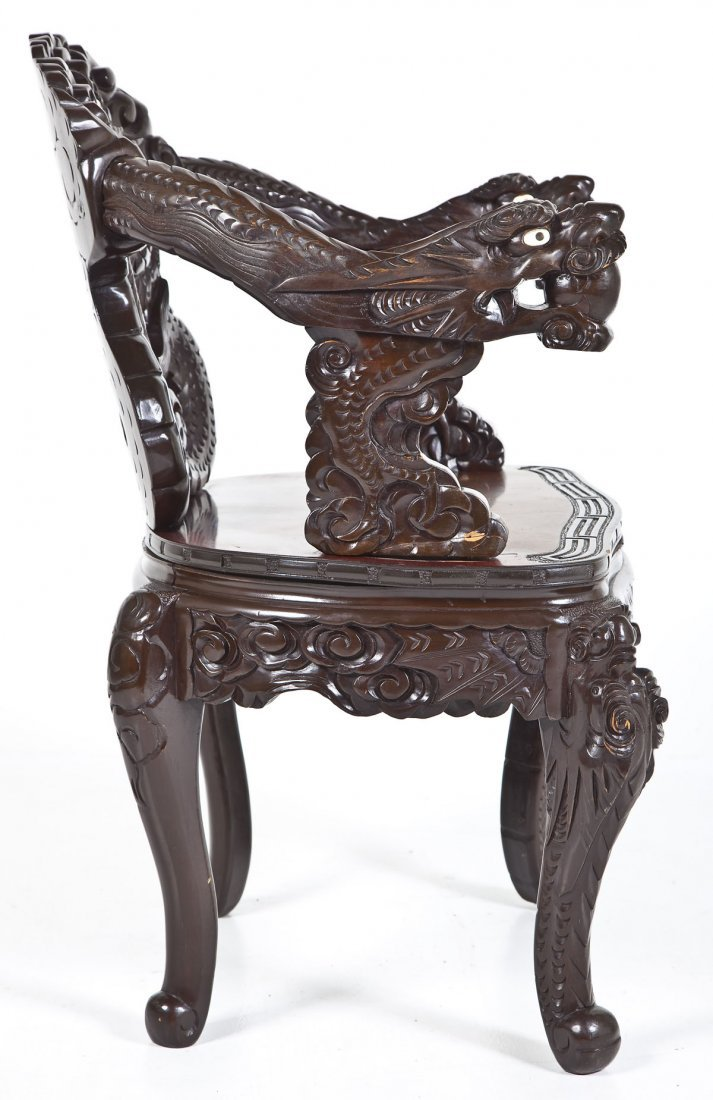 Chinese Carved Dragon Chair - 7