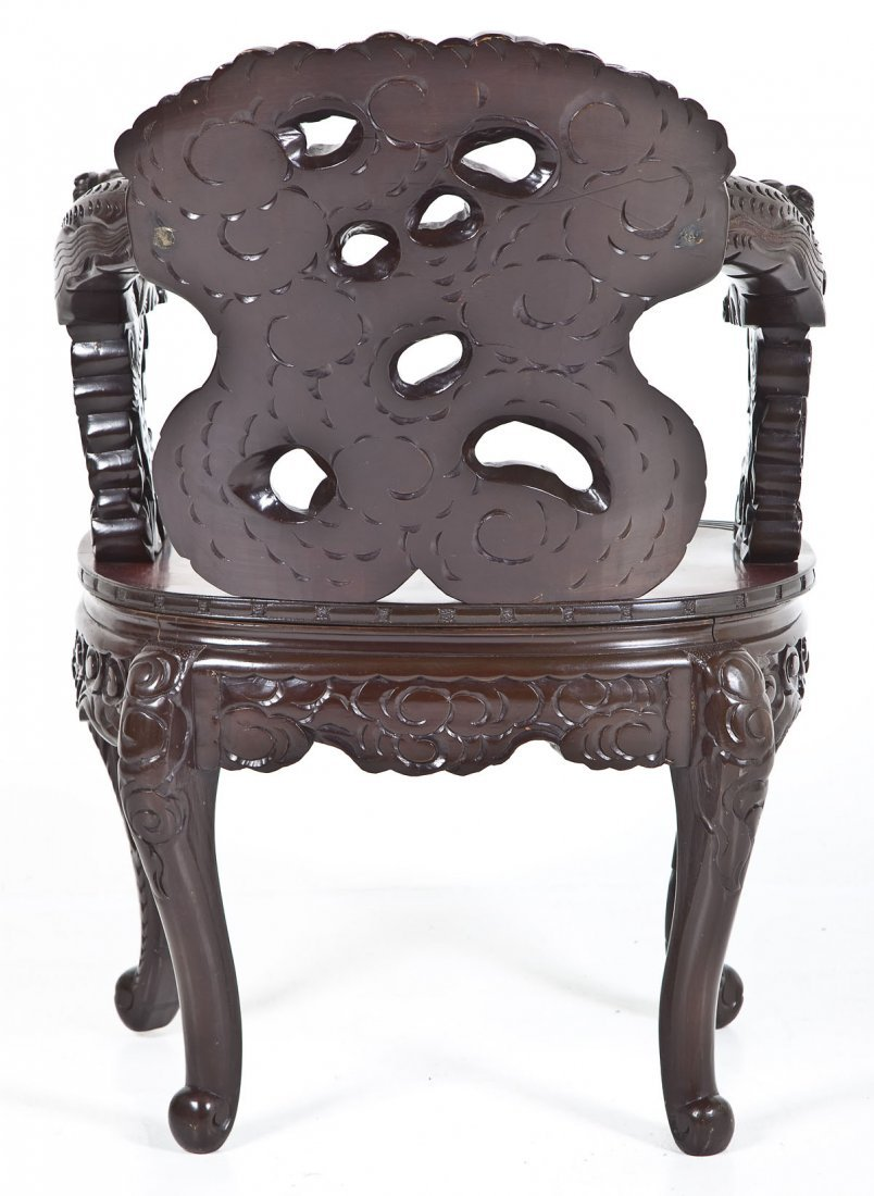 Chinese Carved Dragon Chair - 8