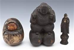 3 Japanese Meiji Carved Wood Figures