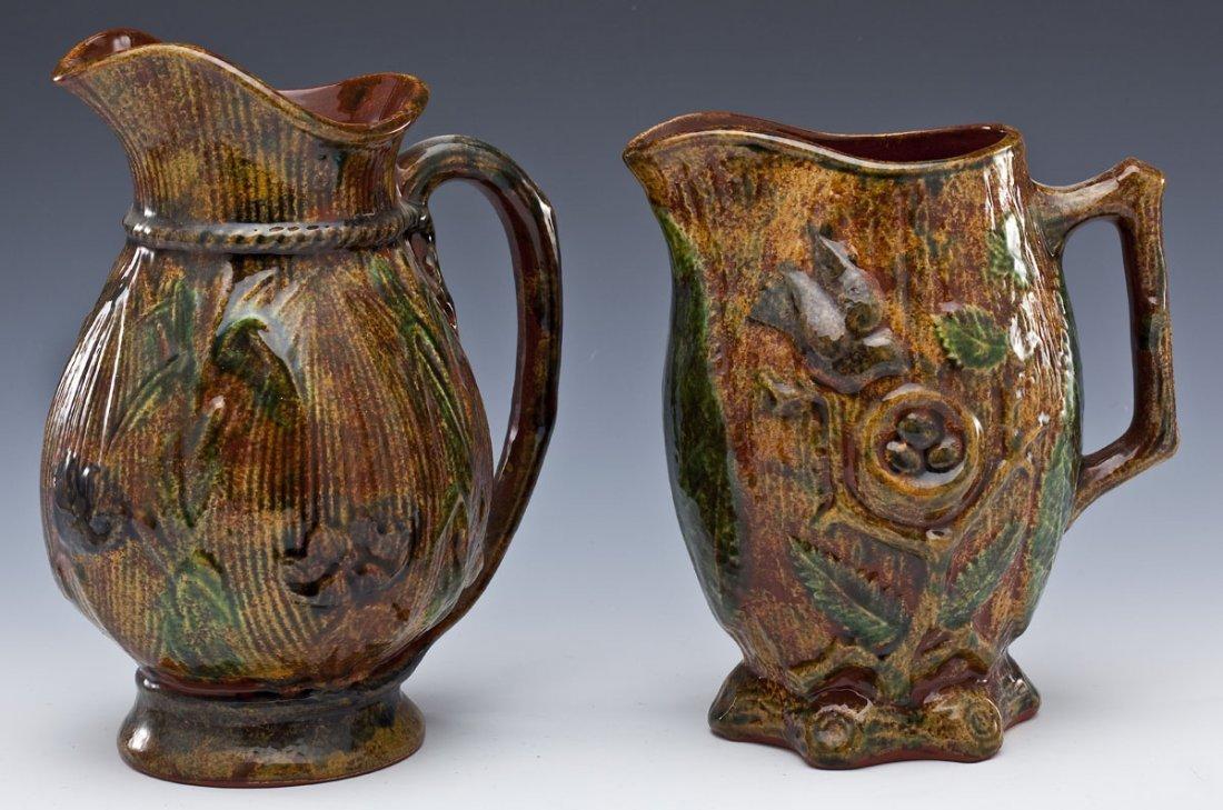 2 Foltz Pottery Redware Pitchers