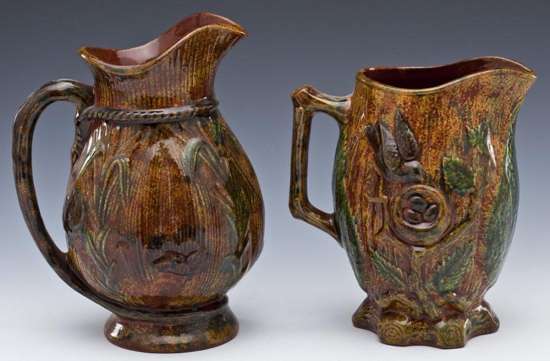 2 Foltz Pottery Redware Pitchers - 2