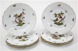 8 Herend Rothschild Bird Dinner Plates