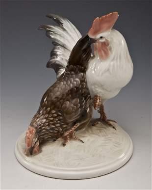 Rosenthal Karl Himmelstoss Rooster & Hen Figurine