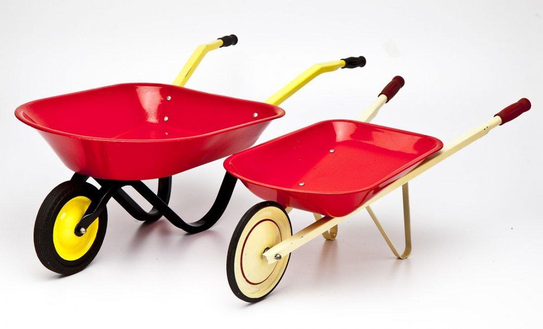 2 Pressed Steel Toy Wheelbarrows