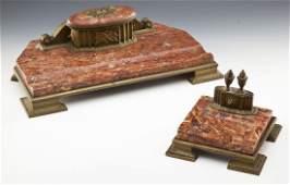 2 Pc Bronze and Marble Austrian Desk Set