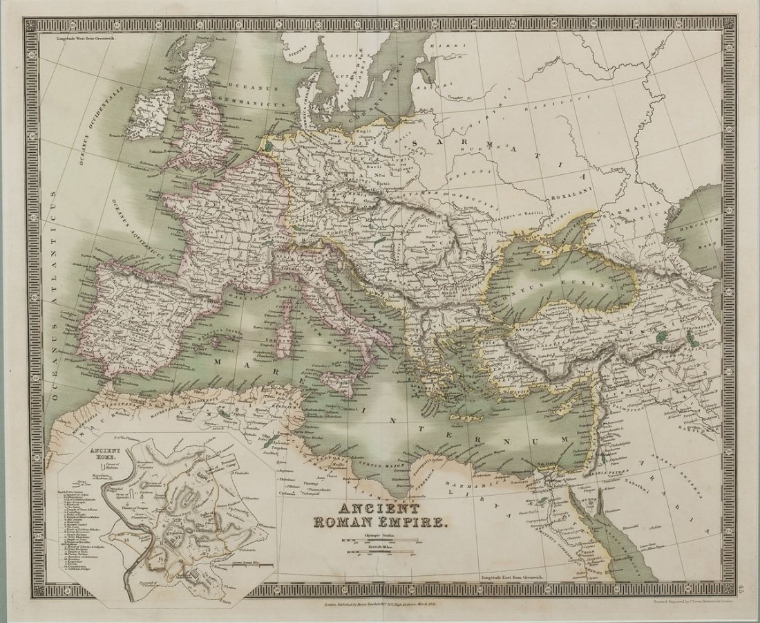 1831 Map Ancient Roman Empire by Henry Teesdale