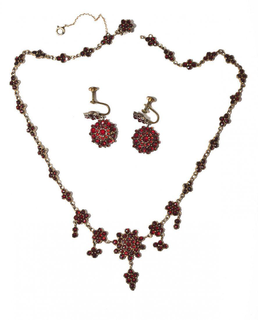 Victorian Bohemian Garnet Necklace & Earrings