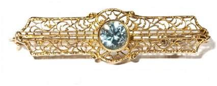 10K Gold  Aquamarine Filigree Bar Pin