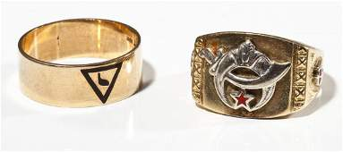 2 Mens Gold Masonic Rings