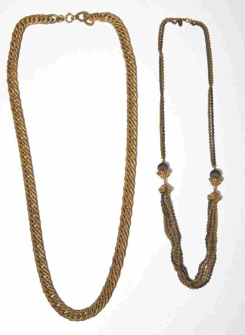 2 Miriam Haskell Metal Costume Necklaces