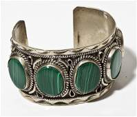 Signed Mexican Silver  Malachite Cuff Bracelet