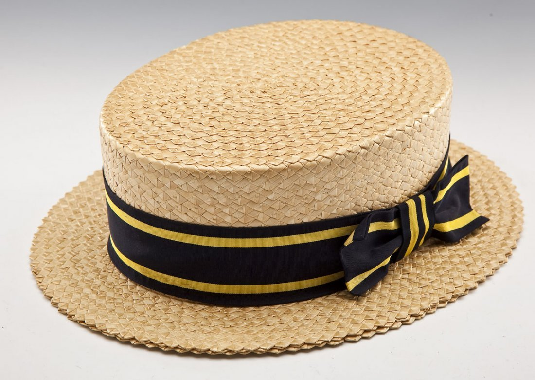 Brooks Brothers Man's Straw Boater Hat and Box
