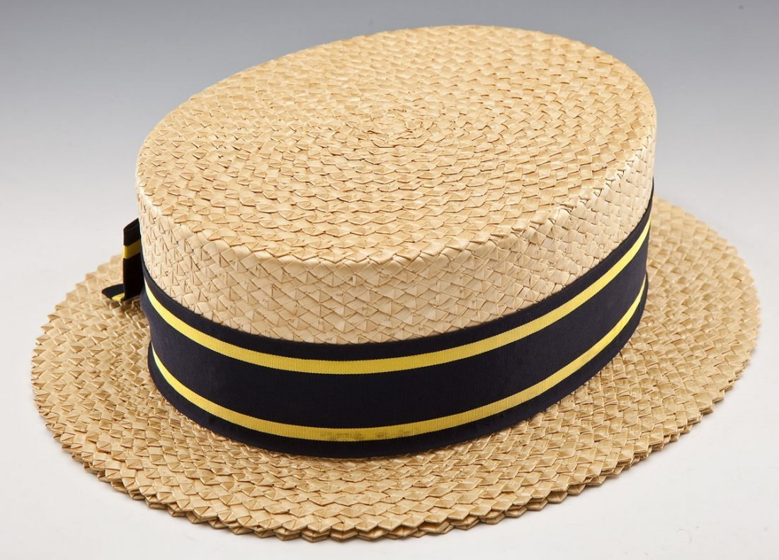 Brooks Brothers Man's Straw Boater Hat and Box - 2