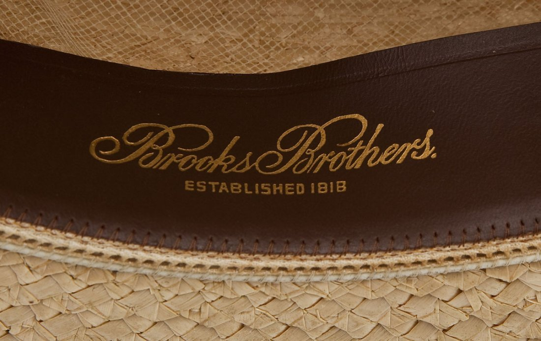 Brooks Brothers Man's Straw Boater Hat and Box - 5