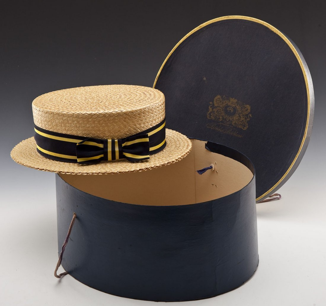Brooks Brothers Man's Straw Boater Hat and Box - 7