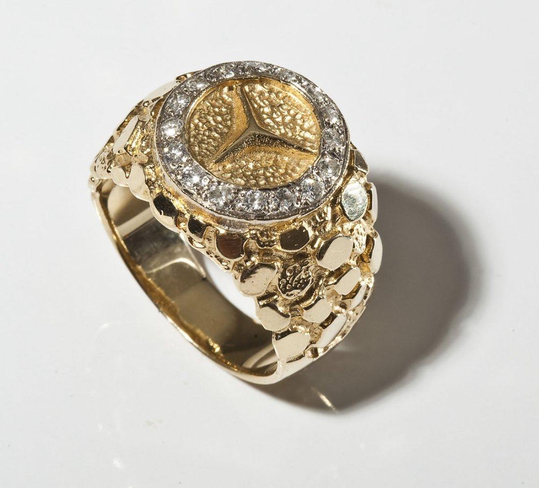 14K Man's Mercedes Emblem Diamond Ring