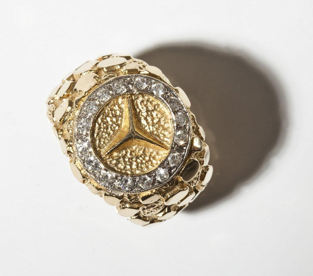 14K Man's Mercedes Emblem Diamond Ring - 2