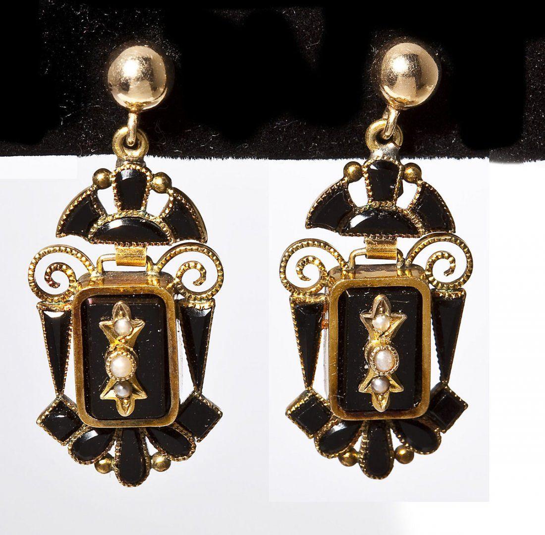 Victorian Gold, Onyx & Pearl Earrings