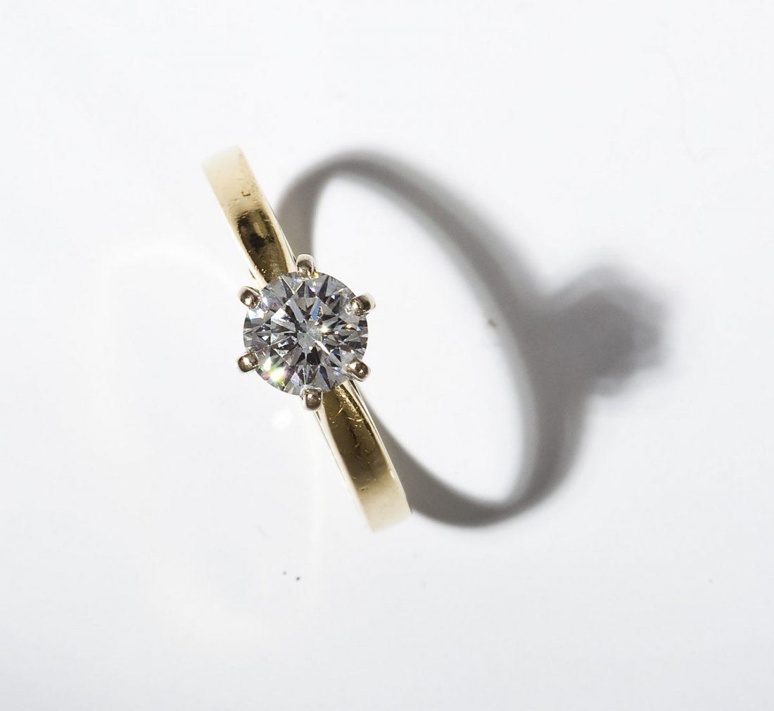 18K .87 Ct Diamond Solitaire Ring