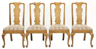 Set of 4 Henredon Queen Anne Revival Dining Chairs