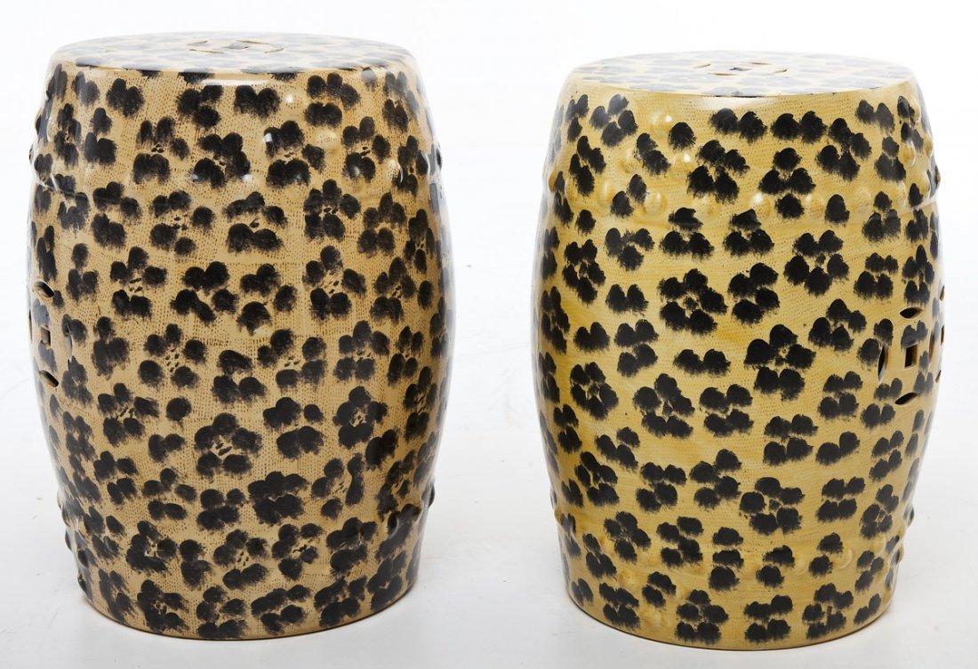 Pair of Leopard Print Garden Stools