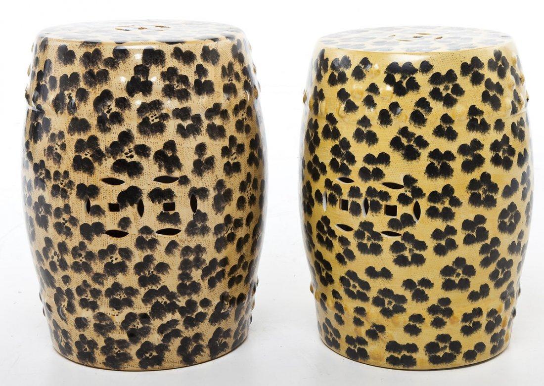 Pair of Leopard Print Garden Stools - 2