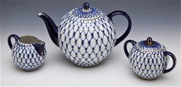 Lomonosov Cobalt Net Russian Tea Set