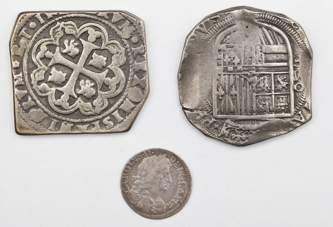 3 Coins incl 1684 Charles II 4 Pence