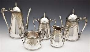 5 Pc Victorian George Sharp Silverplate Tea Set