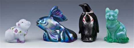 4 Fenton Glass Animal Figurines