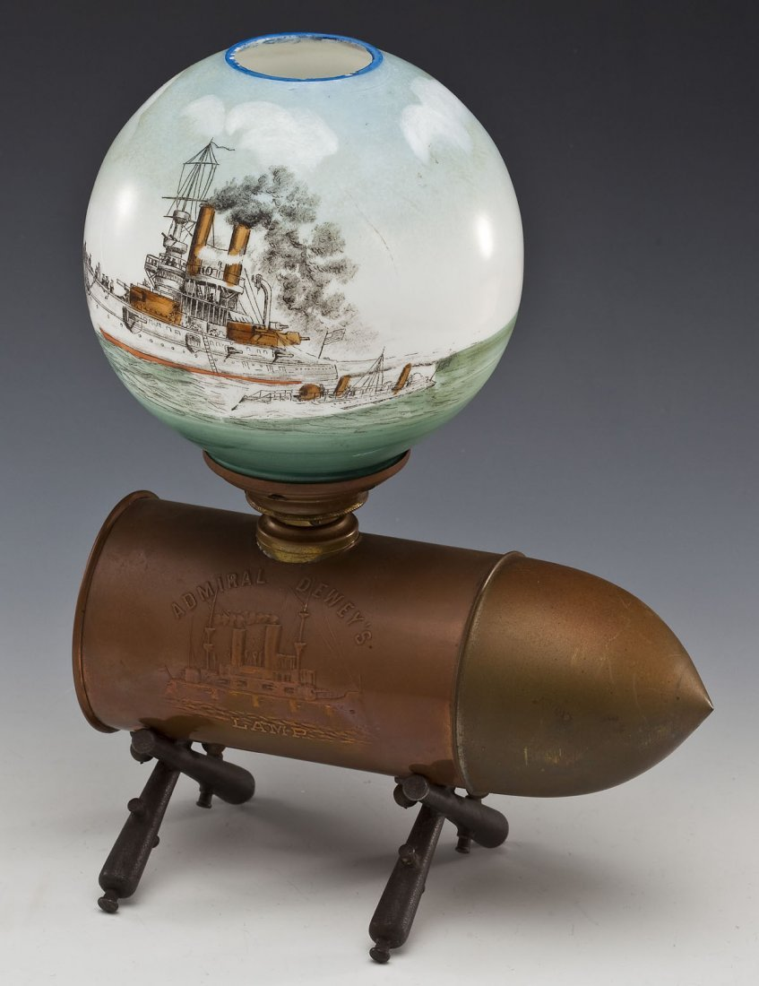 Admiral Dewey Remember the Maine Oil Lamp