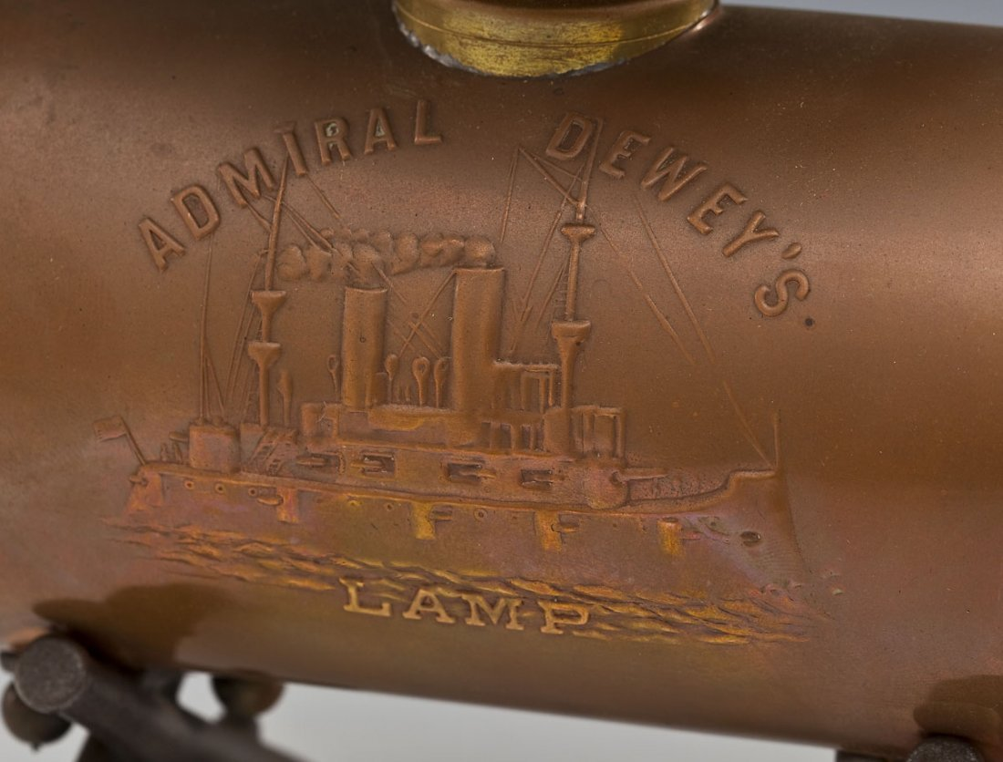 Admiral Dewey Remember the Maine Oil Lamp - 3