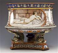 Italian Majolica Planter with Neo-Classical Woman