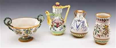 4 Pcs Italian Majolica Pottery