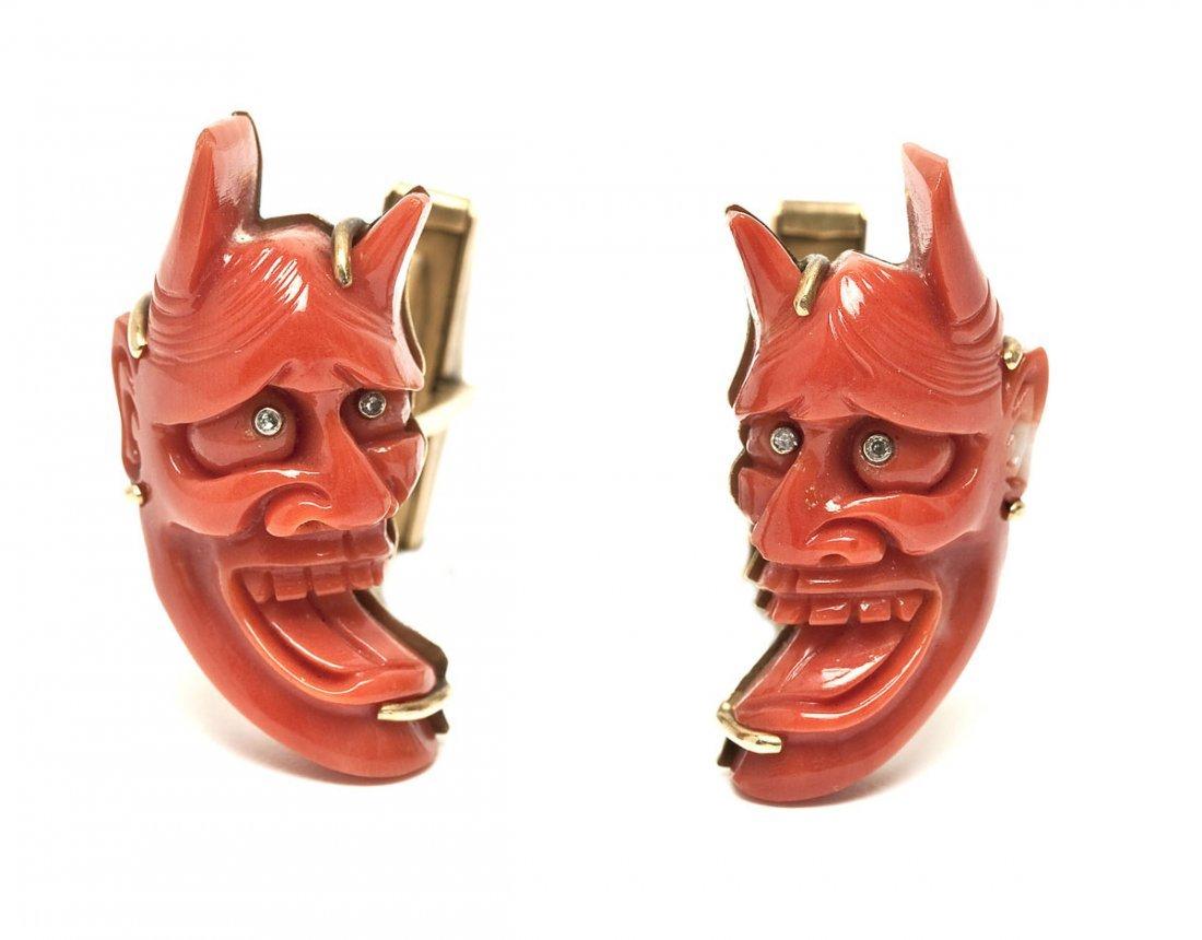 14K Gold Coral & Diamond Devil Cufflinks