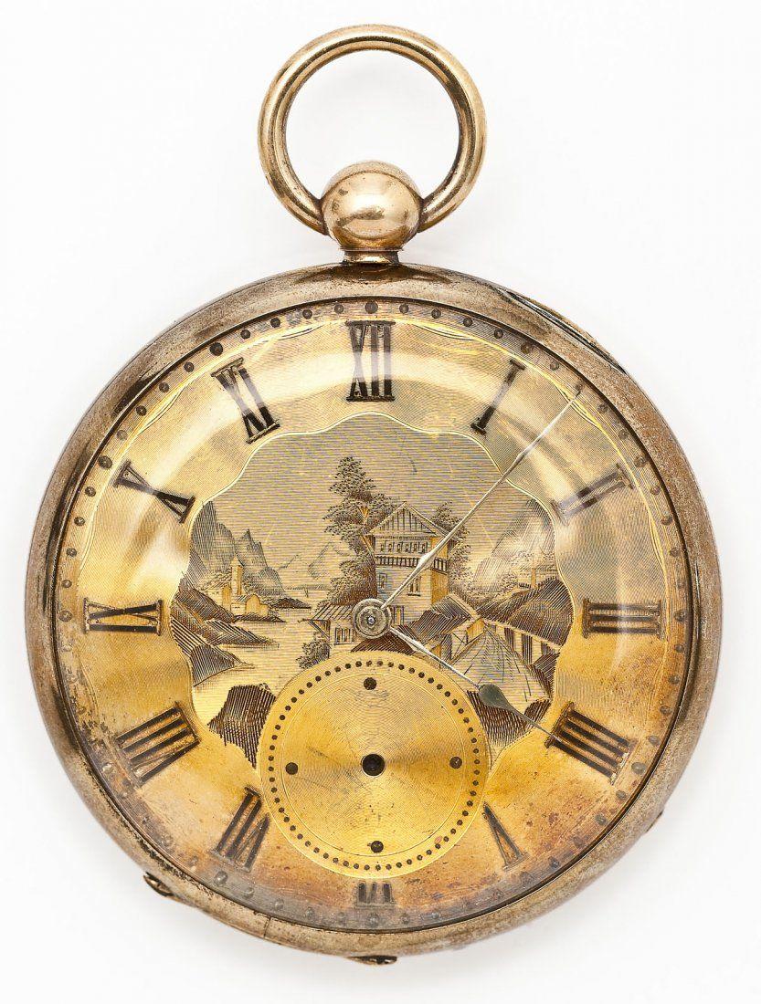 18K M.J. Tobias Fancy Dial Pocket Watch