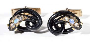 14K Opal & Diamond Snake Cufflinks
