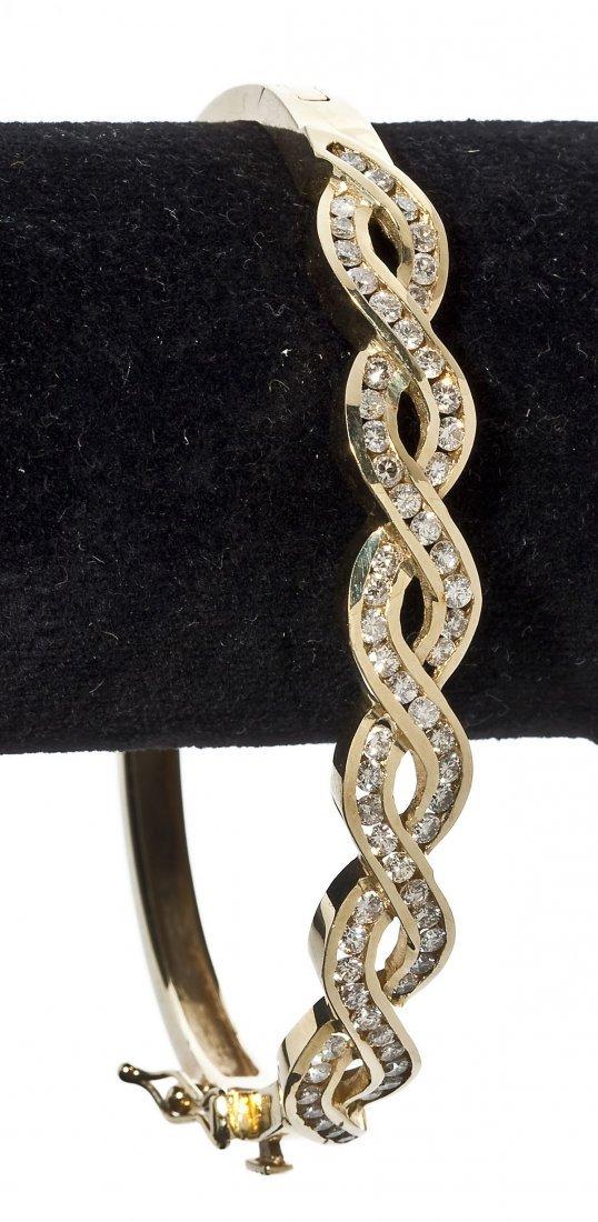 14K Gold & Diamond Bangle Bracelet
