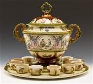 19th C MettlachVilleroy  Boch Ceramic Punch Set