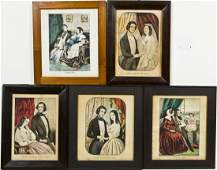 5 Framed Lithographs incl Currier and Ives