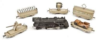 5 Marx Military Train Cars & Lionel 1655 Loco