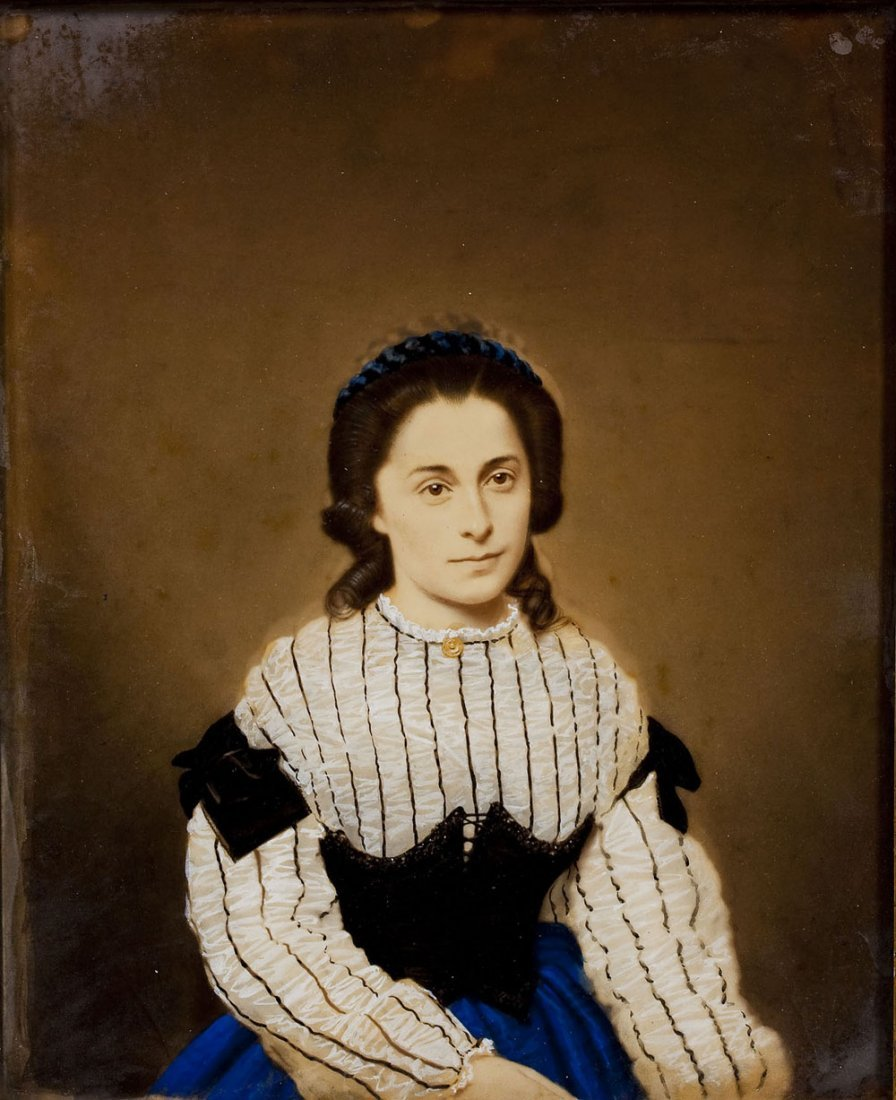 19th C Reverse Painted Handcolored Photograph