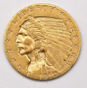 1910 Indian Head $2.50 Gold Quarter Eagle